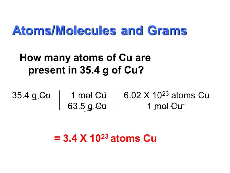 molar mass Avogadro's number Grams Moles particles Everything must go through Moles!!! Calculations
