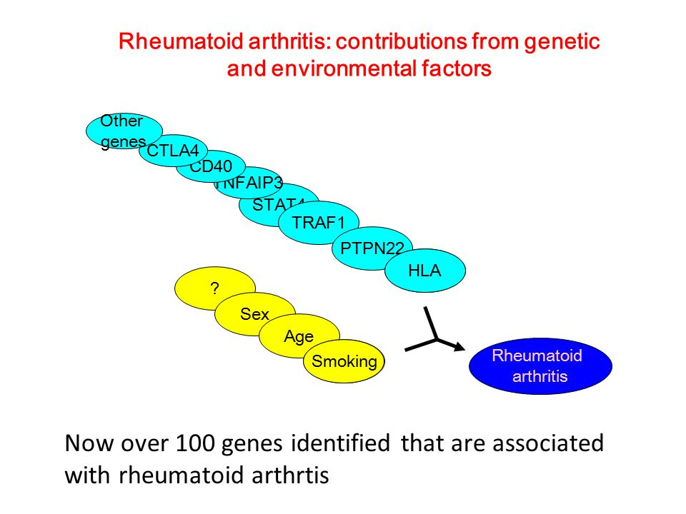 Rheumatoid arthritis: contributions from genetic and environmental factors STAT4 TRAF1 PTPN22 Gene4 .