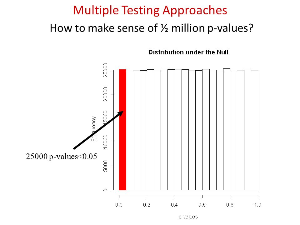 25000 p-values<0.05 Multiple Testing Approaches How to make sense of ½ million p-values?