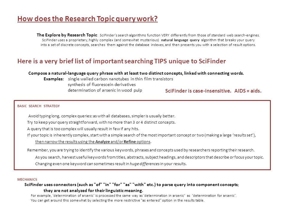 How does the Research Topic query work.