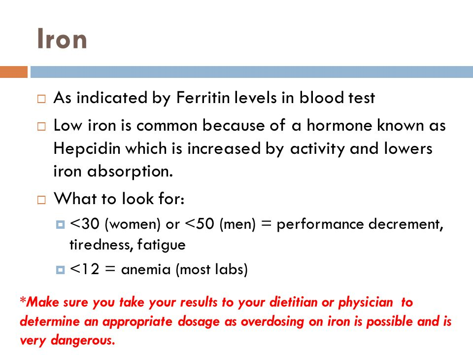 Iron  As indicated by Ferritin levels in blood test  Low iron is common because of a hormone known as Hepcidin which is increased by activity and lowers iron absorption.