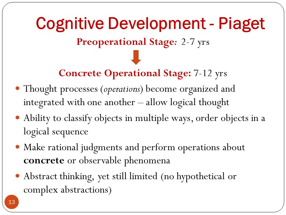 Cognitive Development - Piaget Preoperational Stage: 2-7 yrs Concrete Operational Stage: 7-12 yrs Thought processes (operations) become organized and