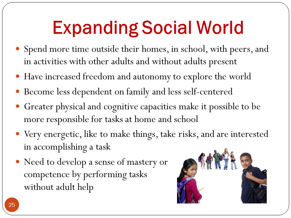 Expanding Social World 25 Spend more time outside their homes, in school, with peers, and in activities with other adults and without adults present H