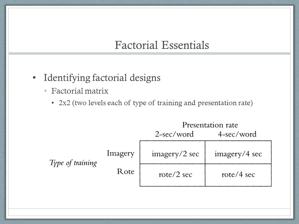 Factorial Essentials Identifying factorial designs Factorial matrix 2x2 (two levels each of type of training and presentation rate)