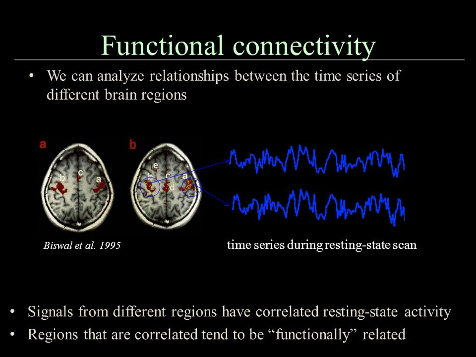 Functional connectivity We can analyze relationships between the time series of different brain regions Biswal et al.