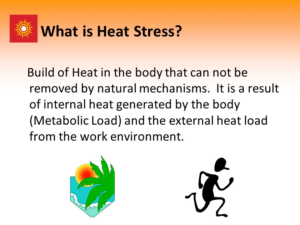 What is Heat Stress. Build of Heat in the body that can not be removed by natural mechanisms.
