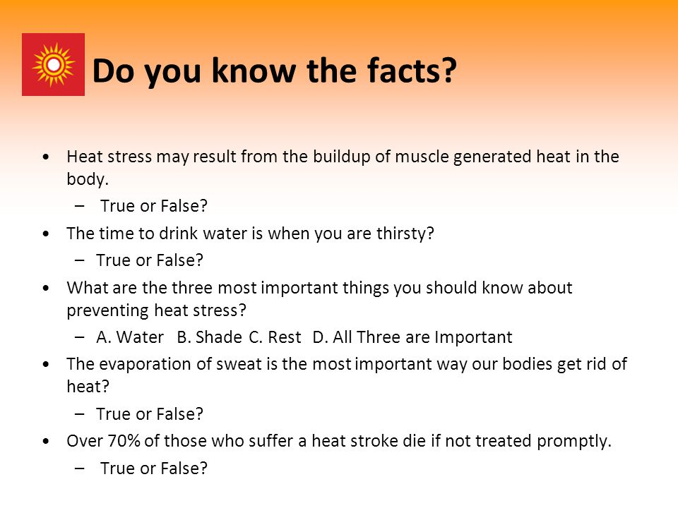 Types of Heat Stress Disorders Heat Rash (Prickly Heat) Heat Cramps Heat Exhaustion Heat Stroke Transient Heat Fatigue Fainting (heat syncope)