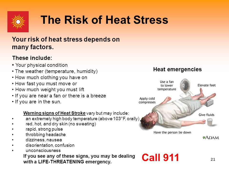 21 The Risk of Heat Stress Your risk of heat stress depends on many factors.