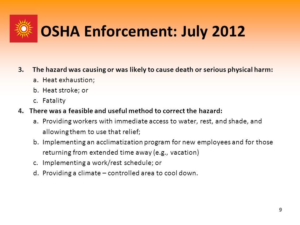 OSHA Enforcement: July 2012 3.