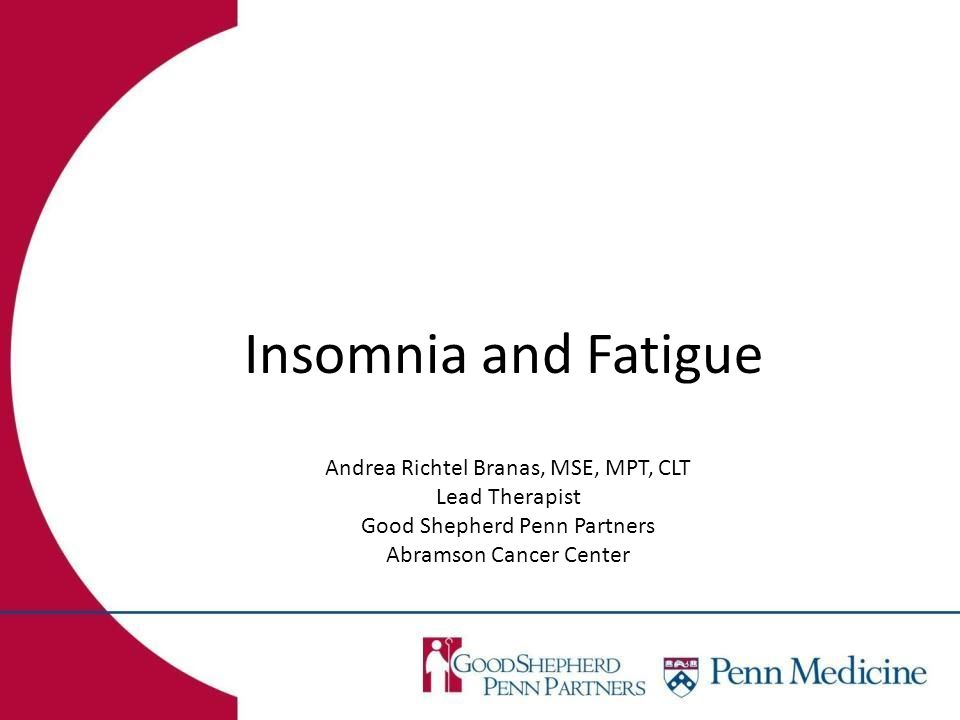 Insomnia and Fatigue Andrea Richtel Branas, MSE, MPT, CLT Lead Therapist Good Shepherd Penn Partners Abramson Cancer Center
