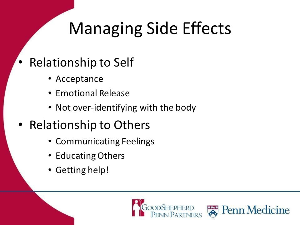 Managing Side Effects Relationship to Self Acceptance Emotional Release Not over-identifying with the body Relationship to Others Communicating Feelings Educating Others Getting help!