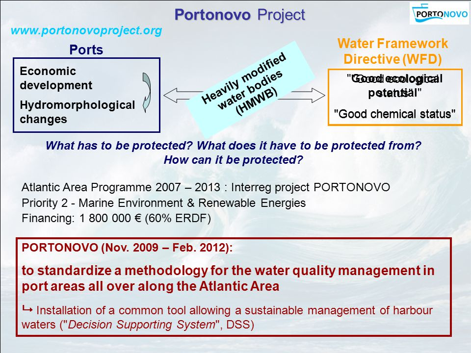Portonovo Project www.portonovoproject.org Atlantic Area Programme 2007 – 2013 : Interreg project PORTONOVO Priority 2 - Marine Environment & Renewable Energies Financing: 1 800 000 € (60% ERDF) PORTONOVO (Nov.