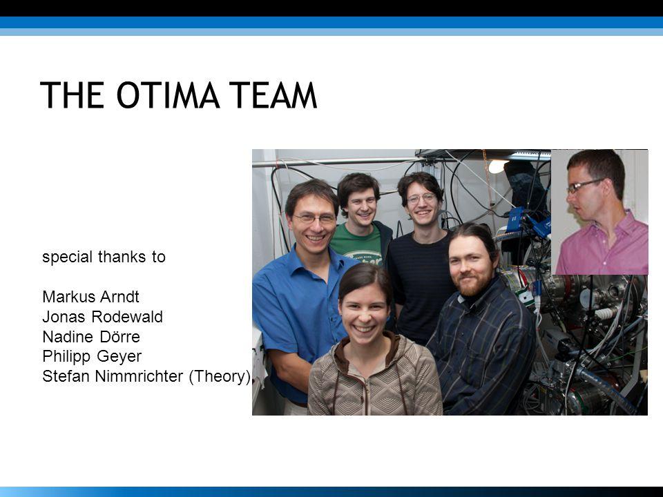 THE OTIMA TEAM special thanks to Markus Arndt Jonas Rodewald Nadine Dörre Philipp Geyer Stefan Nimmrichter (Theory)