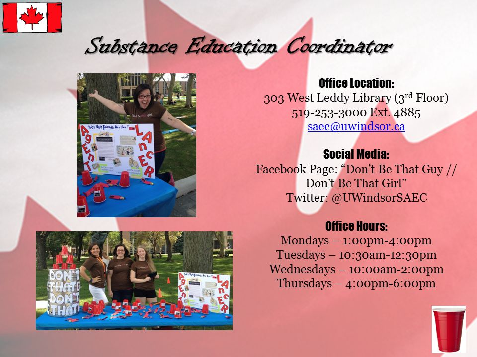 Office Location: 303 West Leddy Library (3 rd Floor) 519-253-3000 Ext.