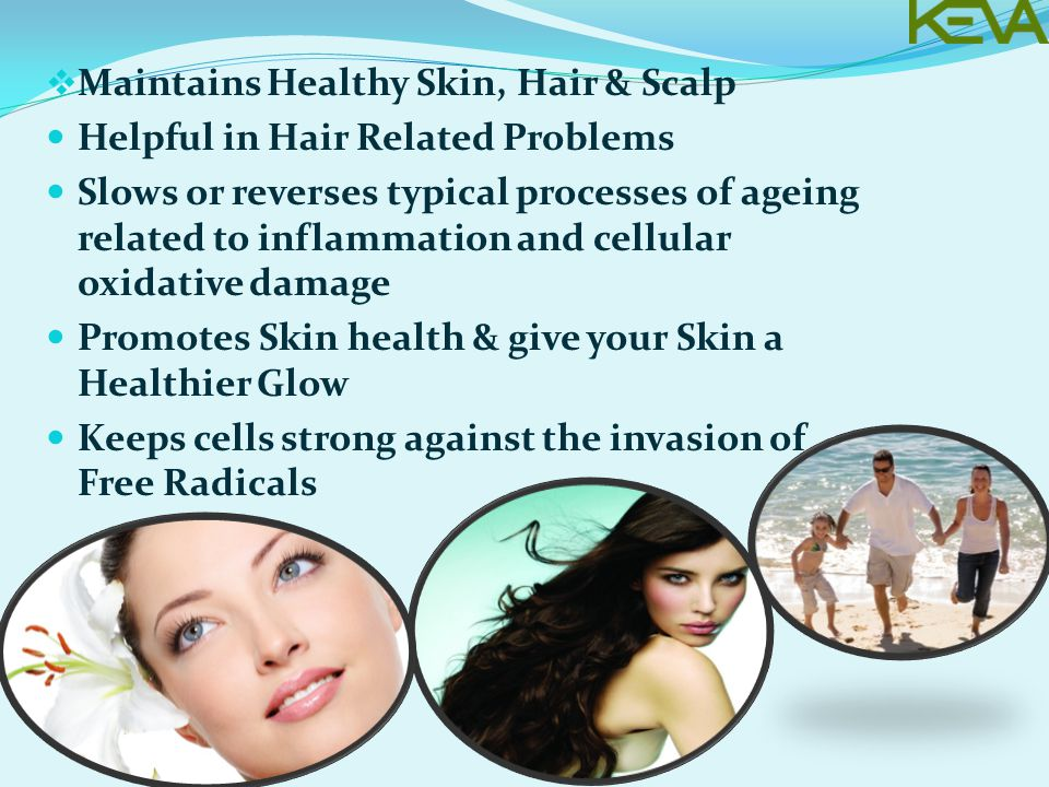  Maintains Healthy Skin, Hair & Scalp Helpful in Hair Related Problems Slows or reverses typical processes of ageing related to inflammation and cellular oxidative damage Promotes Skin health & give your Skin a Healthier Glow Keeps cells strong against the invasion of Free Radicals