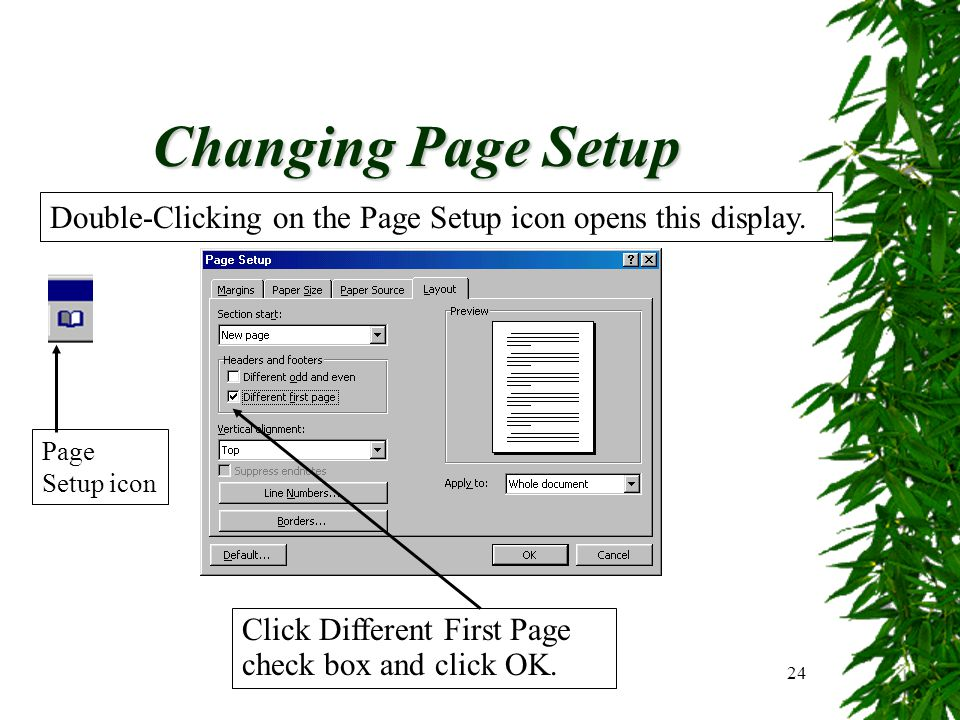 24 Changing Page Setup Click Different First Page check box and click OK. Double-Clicking on the Page Setup icon opens this display. Page Setup icon