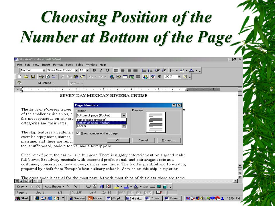 Page Numbers, Headers and Footers29 Using Insert Auto Text To add additional text to the footer, click Insert Auto Text