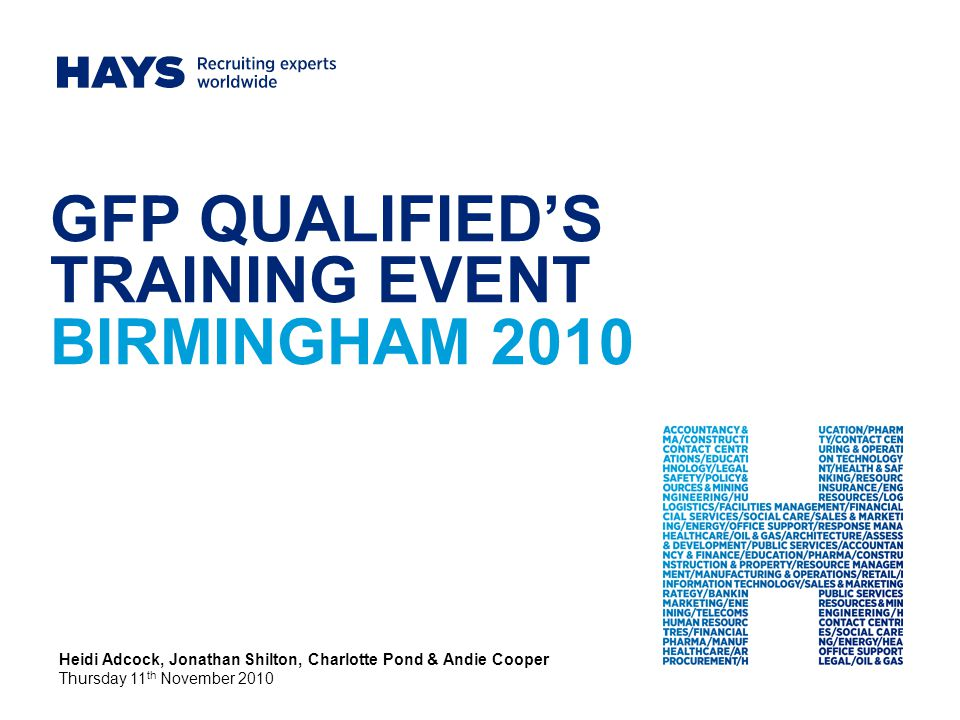 GFP QUALIFIED'S TRAINING EVENT BIRMINGHAM 2010 Heidi Adcock, Jonathan Shilton, Charlotte Pond & Andie Cooper Thursday 11 th November 2010