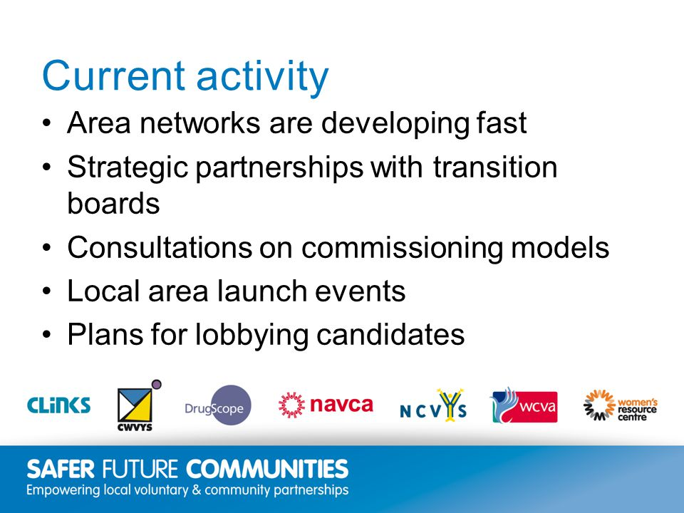 Insert title/footer text here www.clinks.org Current activity Area networks are developing fast Strategic partnerships with transition boards Consultations on commissioning models Local area launch events Plans for lobbying candidates
