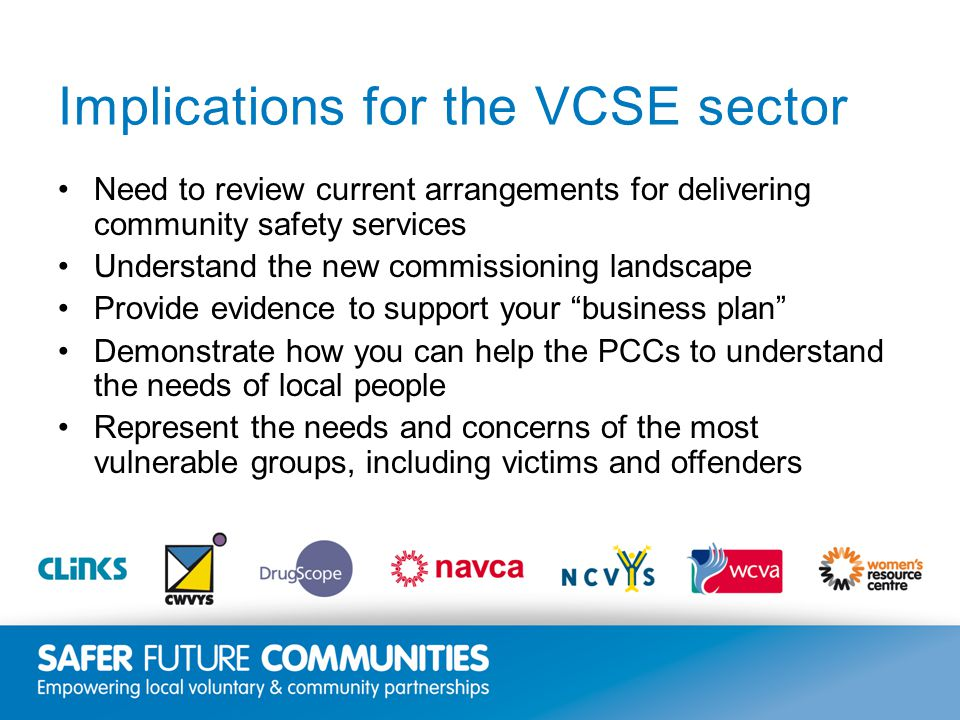 Insert title/footer text here www.clinks.org Implications for the VCSE sector Need to review current arrangements for delivering community safety services Understand the new commissioning landscape Provide evidence to support your business plan Demonstrate how you can help the PCCs to understand the needs of local people Represent the needs and concerns of the most vulnerable groups, including victims and offenders