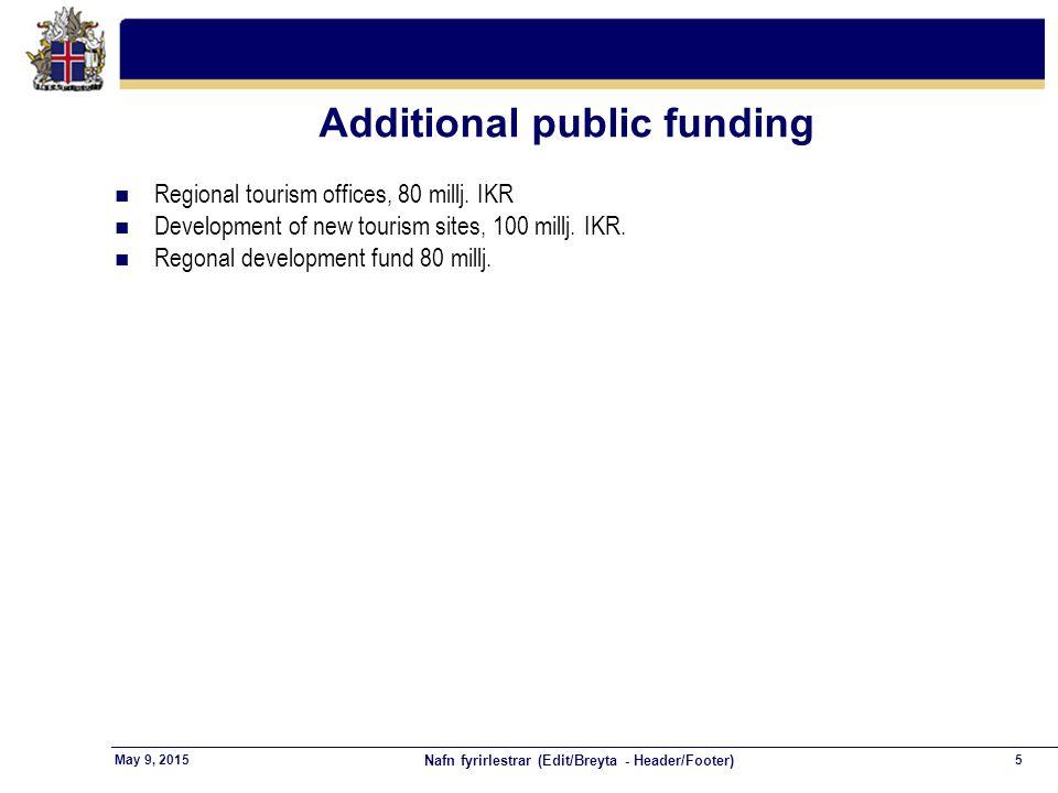 Nafn fyrirlestrar (Edit/Breyta - Header/Footer) 5May 9, 2015 Additional public funding n Regional tourism offices, 80 millj.