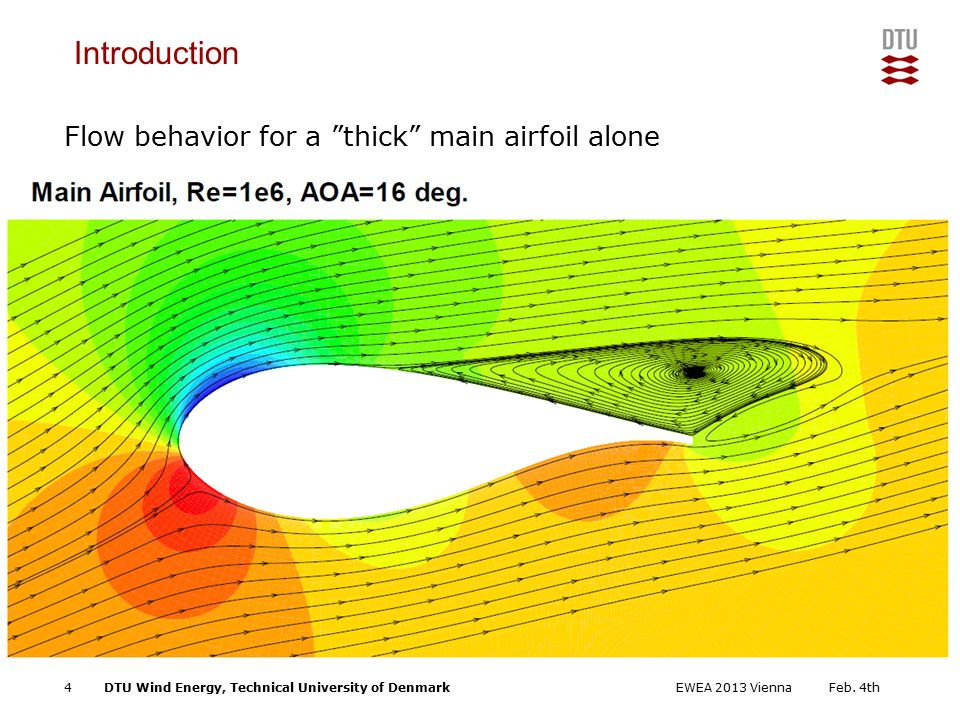 DTU Wind Energy, Technical University of Denmark Add Presentation Title in Footer via Insert ; Header & Footer Flow behavior for a thick main airfoil alone Introduction Feb.