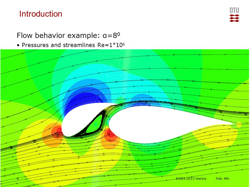 DTU Wind Energy, Technical University of Denmark Add Presentation Title in Footer via Insert ; Header & Footer Flow behavior example: α=8 0 Pressures and streamlines Re=1*10 6 Introduction Feb.