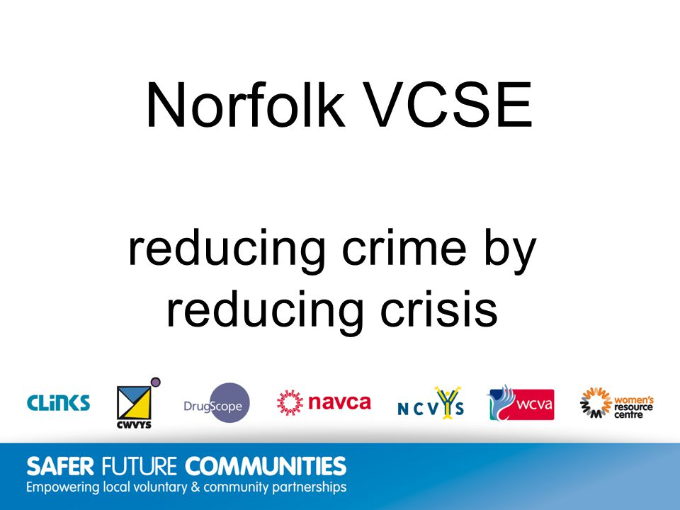 Insert title/footer text here www.clinks.org Norfolk VCSE reducing crime by reducing crisis