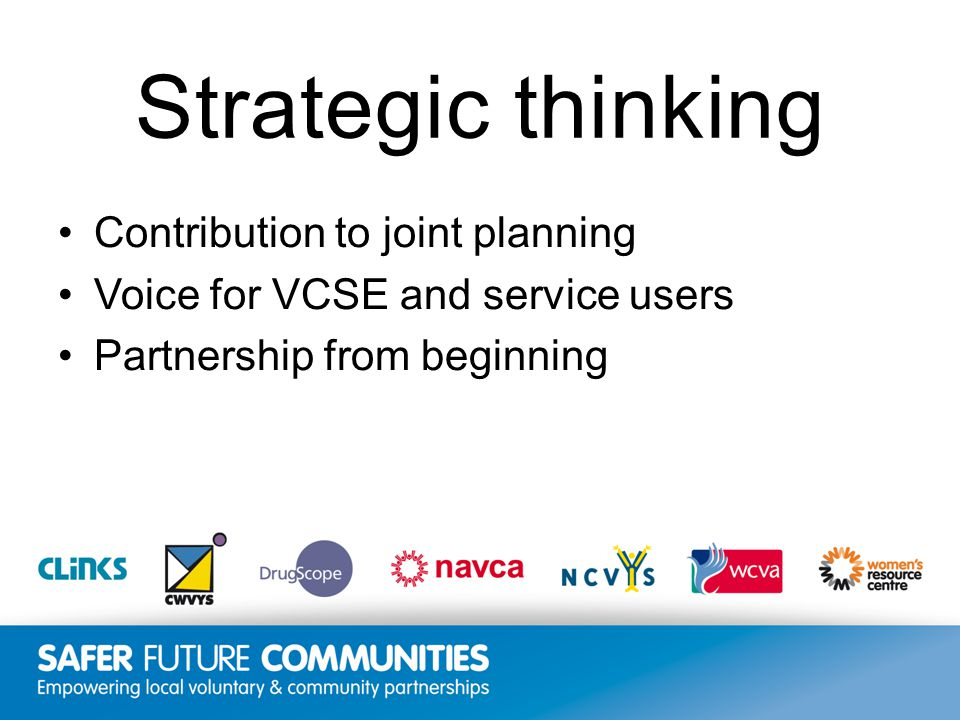 Insert title/footer text here www.clinks.org Strategic thinking Contribution to joint planning Voice for VCSE and service users Partnership from beginning