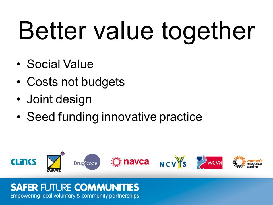 Insert title/footer text here www.clinks.org Better value together Social Value Costs not budgets Joint design Seed funding innovative practice