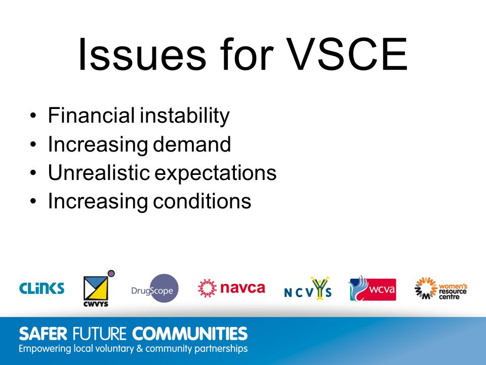 Insert title/footer text here www.clinks.org Issues for VSCE Financial instability Increasing demand Unrealistic expectations Increasing conditions