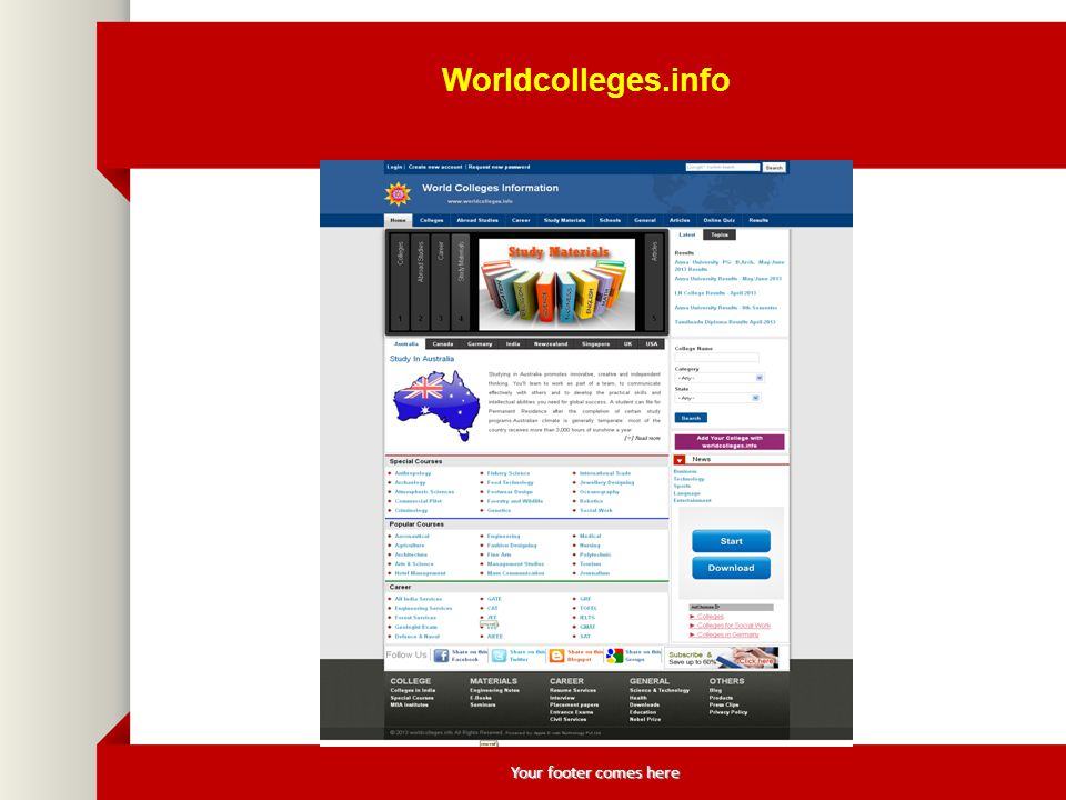 Your footer comes here Worldcolleges.info