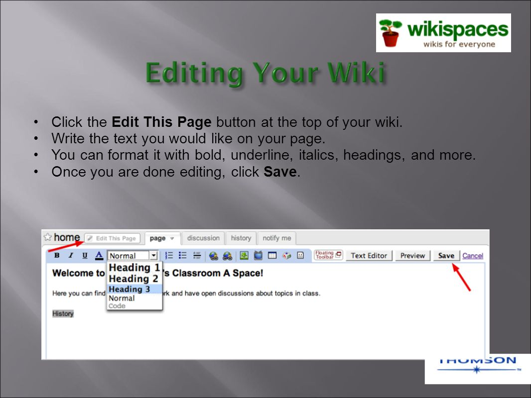 Click the Edit This Page button at the top of your wiki.