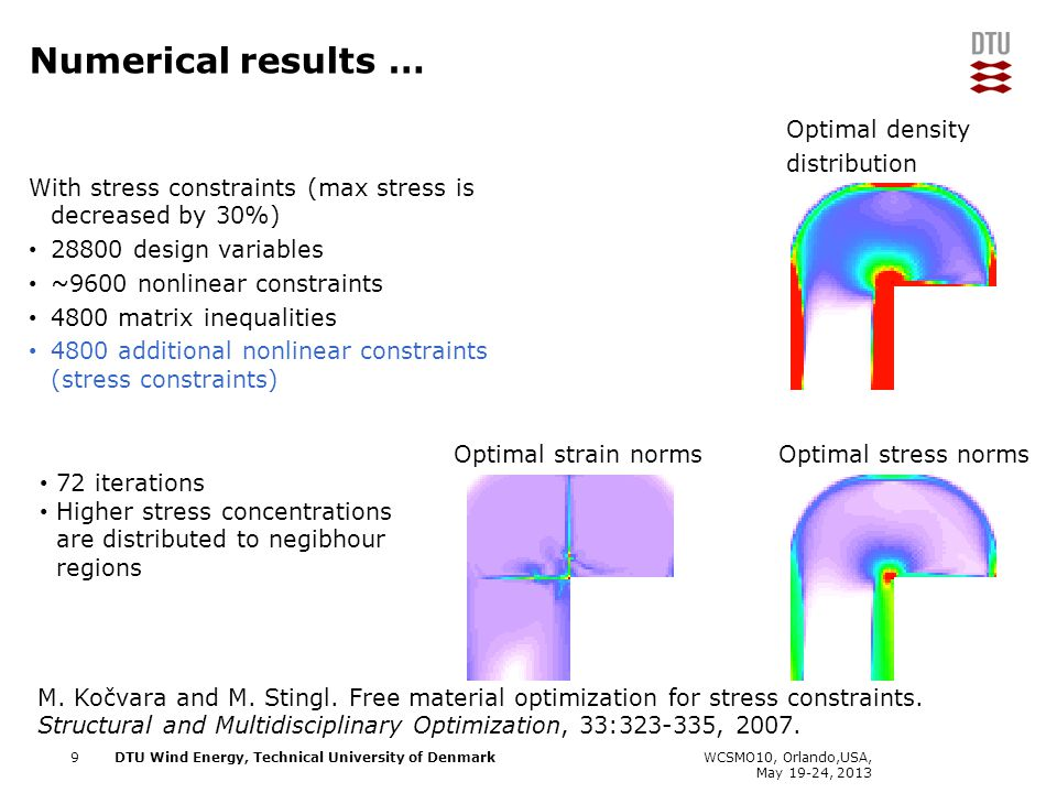 DTU Wind Energy, Technical University of Denmark Add Presentation Title in Footer via Insert ; Header & Footer With stress constraints (max stress is decreased by 30%) 28800 design variables ~9600 nonlinear constraints 4800 matrix inequalities 4800 additional nonlinear constraints (stress constraints) Numerical results … Optimal strain normsOptimal stress norms WCSMO10, Orlando,USA, May 19-24, 2013 72 iterations Higher stress concentrations are distributed to negibhour regions M.