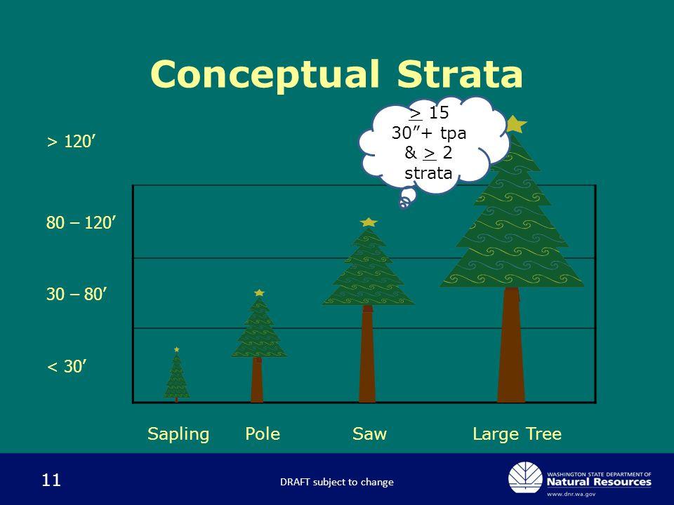 11 Conceptual Strata SaplingSawPoleLarge Tree > 120' 80 – 120' 30 – 80' < 30' DRAFT subject to change > 15 30 + tpa & > 2 strata
