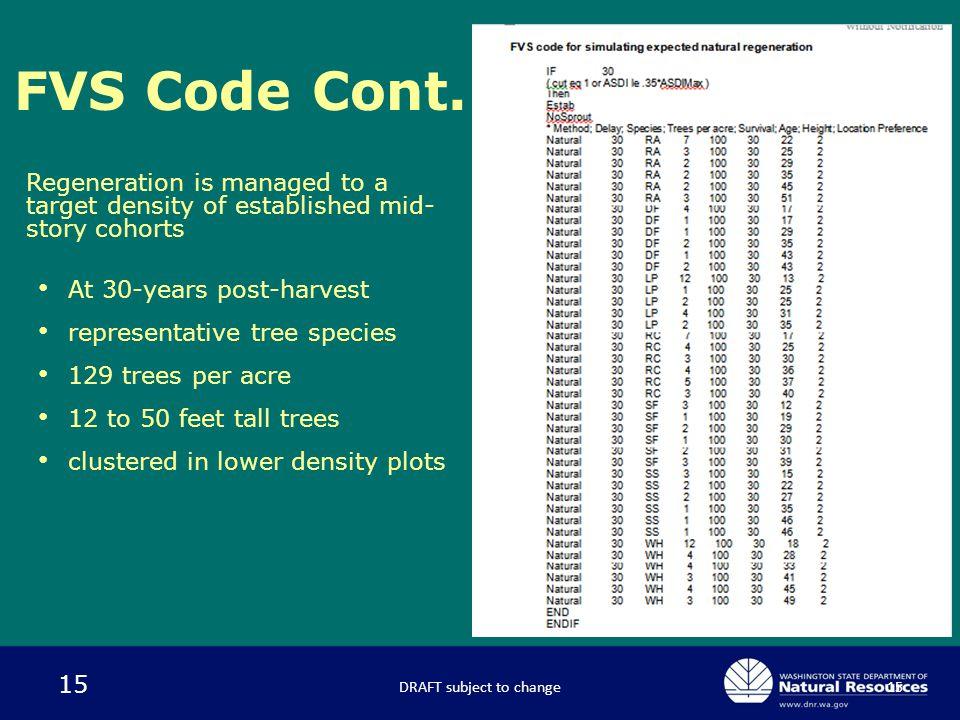 15 FVS Code Cont.