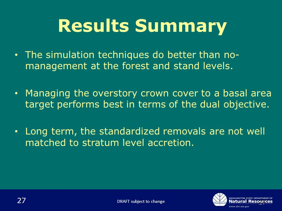 27 27 The simulation techniques do better than no- management at the forest and stand levels. Managing the overstory crown cover to a basal area targe