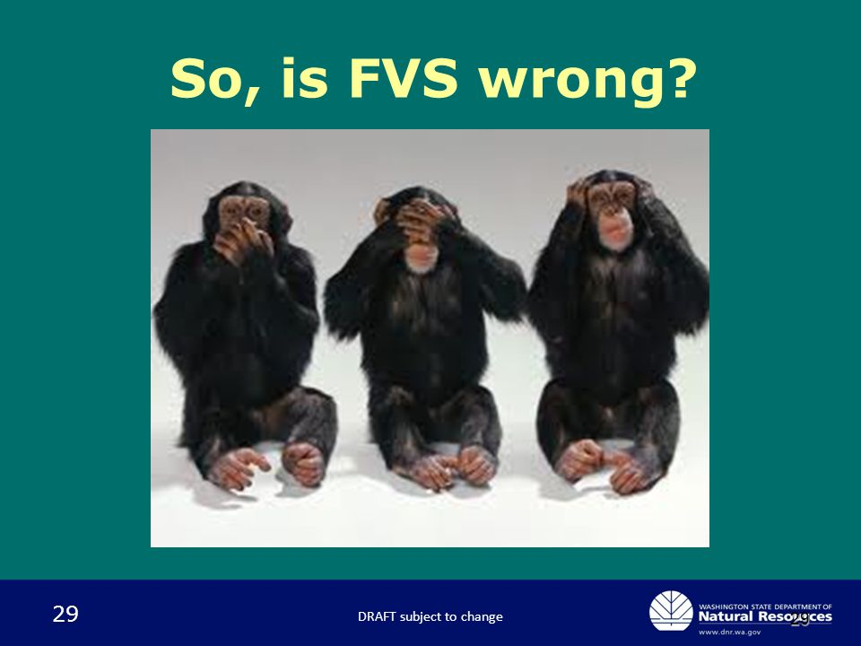 29 29 So, is FVS wrong? DRAFT subject to change