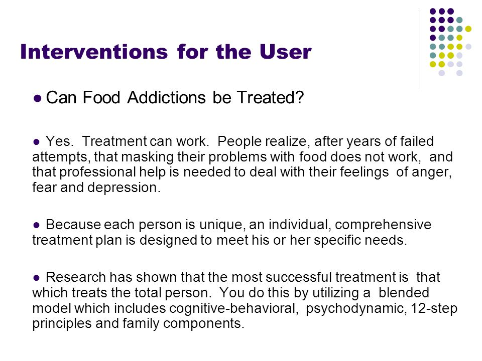 Footer Area Interventions for the User ●Can Food Addictions be Treated.