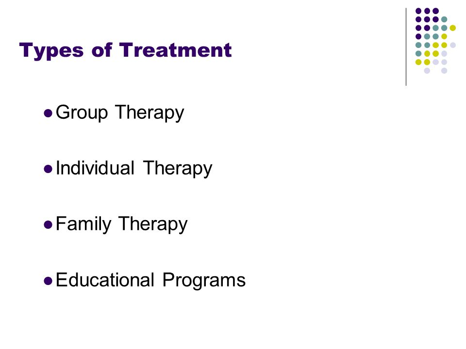 Footer Area Types of Treatment ●Group Therapy ●Individual Therapy ●Family Therapy ●Educational Programs