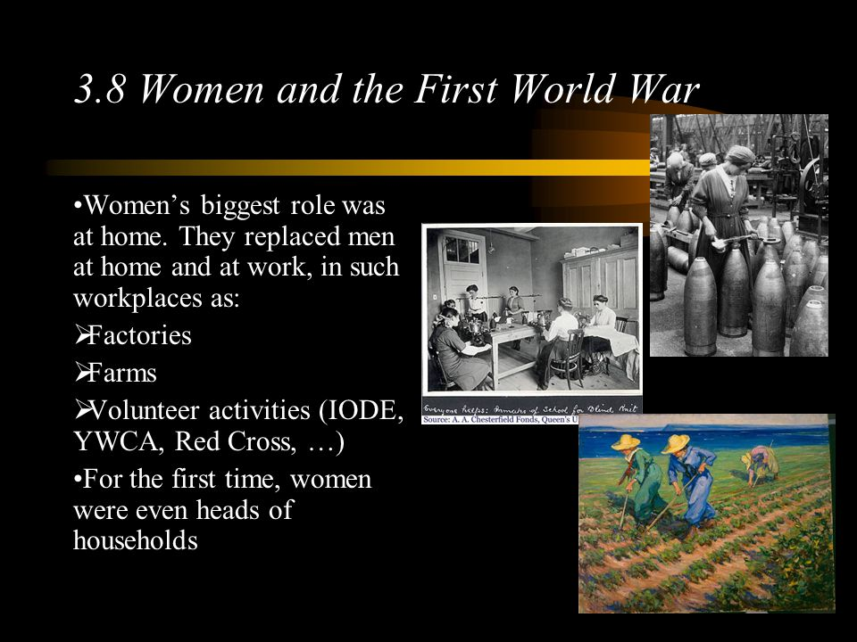 3.8 Women and the First World War Women's biggest role was at home.