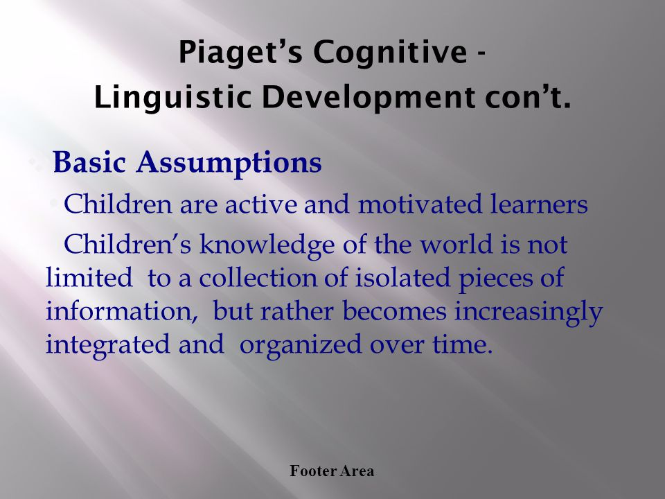 Footer Area Piaget's Cognitive - Linguistic Development con't. ❖ Basic Assumptions Children are active and motivated learners Children's knowledge of