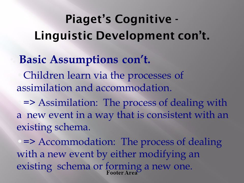 Footer Area Piaget's Cognitive - Linguistic Development con't. ❖ Basic Assumptions con't. Children learn via the processes of assimilation and accommo