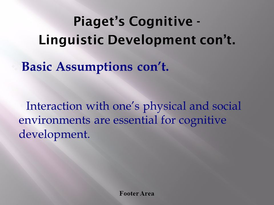 Footer Area Piaget's Cognitive - Linguistic Development con't. ❖ Basic Assumptions con't. Interaction with one's physical and social environments are