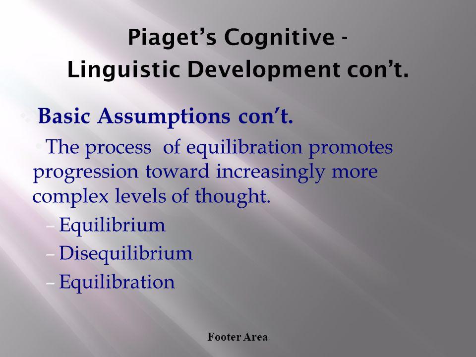 Footer Area Piaget's Cognitive - Linguistic Development con't. ❖ Basic Assumptions con't. The process of equilibration promotes progression toward inc