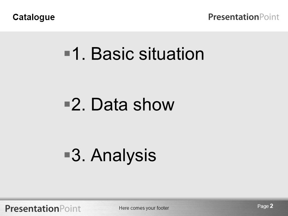 Here comes your footer Page 2 Catalogue  1. Basic situation  2. Data show  3. Analysis