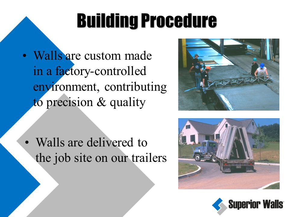 Your excavator prepares job site according to our Builder Guideline Booklet Site check is done prior to installation by Superior Walls to approve delivery Building Procedure