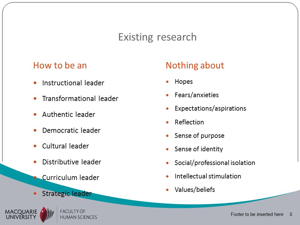 Footer to be inserted here 5 Existing research How to be anNothing about Instructional leader Transformational leader Authentic leader Democratic leader Cultural leader Distributive leader Curriculum leader Strategic leader Hopes Fears/anxieties Expectations/aspirations Reflection Sense of purpose Sense of identity Social/professional isolation Intellectual stimulation Values/beliefs