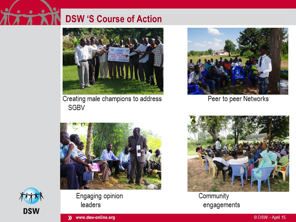 © DSW – April 15 use footer for inserting titel www.dsw-online.org » DSW 'S Course of Action Creating male champions to address SGBV Community engagements Engaging opinion leaders Peer to peer Networks