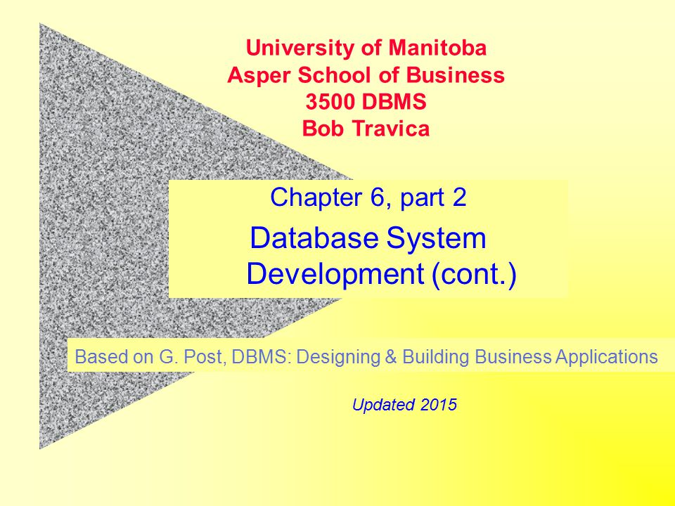 Chapter 6, part 2 Database System Development (cont.) Based on G.